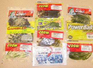 10 Bag Assortment Zoom Lake Fork Lures Strike King Gambler Berkley