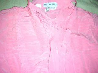 Ted Lapidus Pink Tuxedo Shirt Women Silk