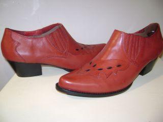 Reba Lane Shoe Bootie Red Leather 7 M