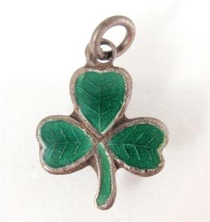 Vtg Sterling Silver 3 Leaf Green Enamel Clover Shamrock Bracelet Charm