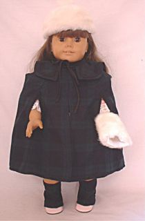 Plaid cape, hat, muff fits 18 American Girl Doll Mckenna kit lani