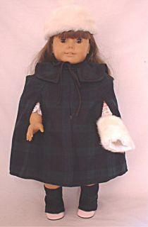 Plaid cape, hat, muff fits 18 American Girl Doll Mckenna kit lani