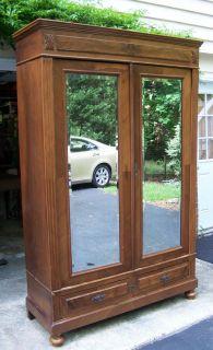 Walnut 2 Door Beveled Mirror French Armoire Wardrobe Dresser Closet