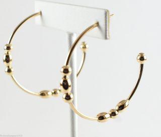 Faraone Mennella 18K Yellow Gold Bead Large Hoop Earrings $840