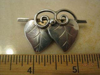 Silver Leaf Pin Brooch Deco Modernist Handmade Denmark LaPaglia