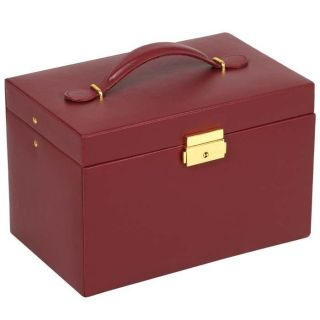 Chelsea Large Jewelry Box with Three Drawers and Travel Case Scarlet