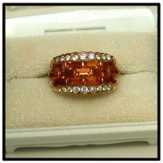 Ladies Cocktail Rhinestone Ring, Bagettes, Size 9 1/4, Estate, Free