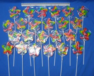 24 Large Gourmet Star Shaped Swirl Lollipops