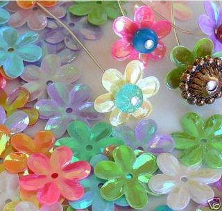 50 Large Flower Cap Assorted Color Plastic Beads Acrylic