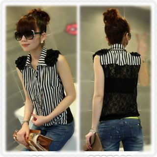 Sexy Sleeveless Lace 3D Flower Stripes Lapel T Shirt Blouse Top