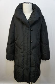 Larry Levine Down Black Long Sleeve Button Down Pocketed Down Jacket