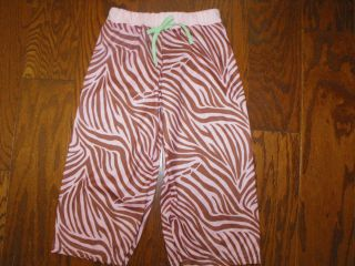 LAURA DARE Pink/Brown Zebra Print Lounging Pajama Pants   Size 4 Girl