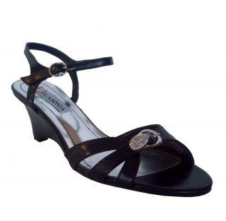 Lasonia S2517 Womens Black Strappy Runway Fashion Wedge Heels