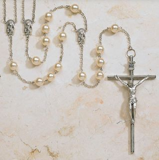 Catholic Wedding Ivory Lasso Rosary Large Crucifix Beautiful Beads