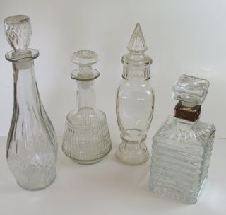 Lot of 4 Fancy Clear Glass Decanters w Stoppers Whiskey Brandy L K