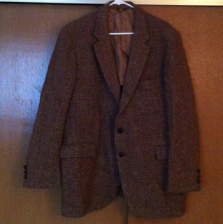 Vtg Harris Tweed Brown Scotish Wool Mens Sport Coat Blazer Size 44 R