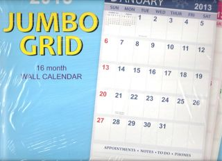2013 JUMBO LARGE Print WALL CALENDAR BIG NUMBERS Space for Notes Lists