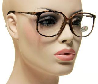 Large Retro Vintage Clear Lens Brown Carbon Frame Glasses Eyeglasses