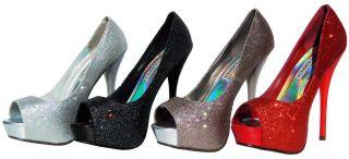 Lasonia Glitter Womens Open Toe High Heel Pumps