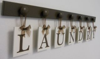 Laundry Room Wall Decor Hanging Letters LAUNDRY includes 7 Wooden Pegs