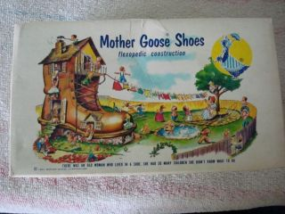 Vintage 1950s Colorful Mother GOOSE Shoes Childrens Shoe Box