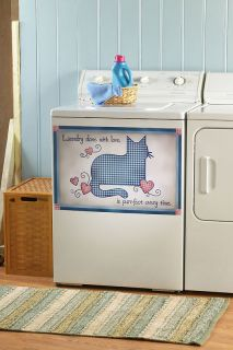Checkered Country Cat Heart Laundry Washer Magnet Magnetic Cover Decor
