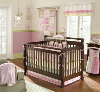 LAURA ASHLEY CRIB BEDDING SET BABY LOVE 6PC FLOWERS HEARTS PINK