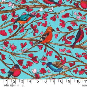 Song, Garden Wall Laura Gunn, Michael Miller Red Orange Blue Bird Tree