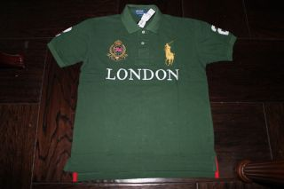 Ralph Lauren POLO Shirt London Green with Multi Color Pony for Mens