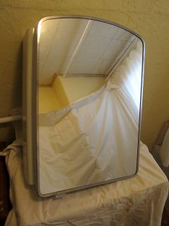 Vintage 1950s Lawson Bathroom Mirror White Metal Medicine Cabinet w