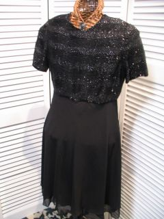 Laurence Kazar s Black Glass Beading Party Dress
