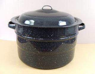 Large Enamel Stock Pot & Cover Lid Dark Blue Black Speckled Canning