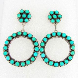 Sterling Silver Snake Eye Turquoise Stud Earrings LAWRENCE LONASEE G M
