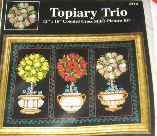 Counted Cross Stitch Kit TOPIARY TRIO Fruit by Laurie Korsgaden 12x16