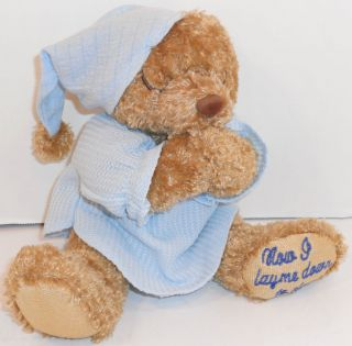 Now I Lay Me Down to Sleep Embroidery Paw Teddy Bear Plush 8 Rattle