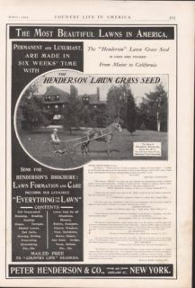 FP 1904 Henderson Lawn Care Equipment Grass Seed Working Farm Horse Ad