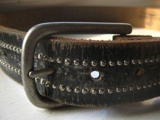 Island Silver Studded Black Distressed Vintage Belt Size 32 Bill Lavin