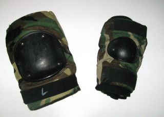 US ARMY MILITARY SURPLUS BIJANS WOODLAND CAMO PAINTBALL KNEE & ELBOW