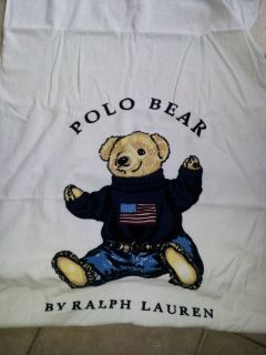 Polo Ralph Lauren Teddy Bear Beach Towel White Sweater Bath New Cotton