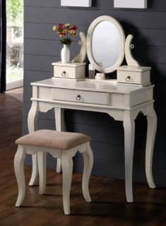 Queen Anne White Wood Makeup Mirror Table Vanity Set