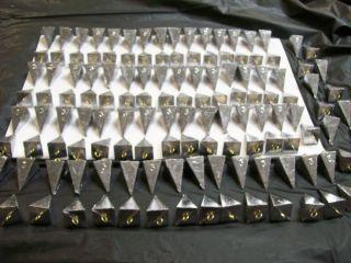 132 Pcs Bulk Lot Pyramid Lead Fishing Sinkers with Brass Eye Size 3