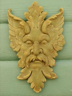 Michelangelo Greenman Leaf Mask Plaque 13 Wall Accent Outdoor Garden