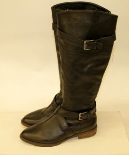 ANN TAYLOR LOFT BLACK LEATHER BUCKLE ZIP UP CALF HIGH FASHION BOOTS