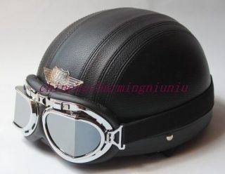 New Black Leather Half Motorcycle Helmet Goggles Visor M L XL