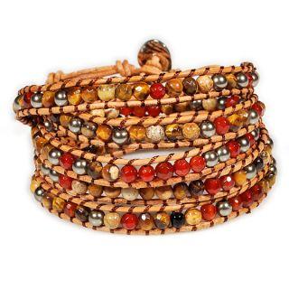 Multi Styles Gemstone Beads Leather Wrap Bracelet Woven QCL55