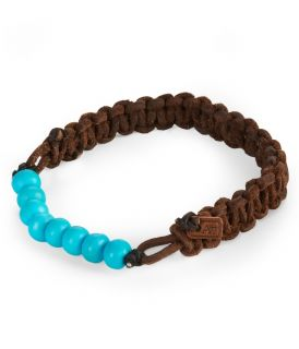 Aeropostale Mens Stretch Bead Leather Bracelet