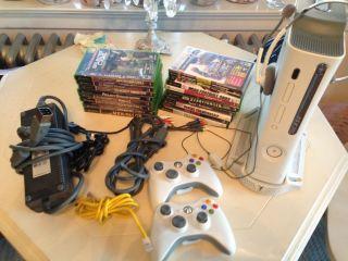 Microsoft Xbox 360 White Console Bundle 15 Games 2 Cont HDMI Headset