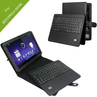 Removable Bluetooth Keyboard + Leather Case Cover for Motorola Xoom