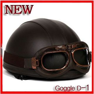 Motorcycle Vintage Goggles Helmet motorbike Retro Bike Leather D 1