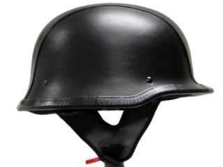 Dot German Black Leather Motorcycle Half Helmet Biker L